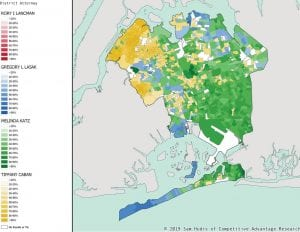 This map, created by Sam Hudis and Jon Reznick, shows how the votes were distributed in Rockaway.